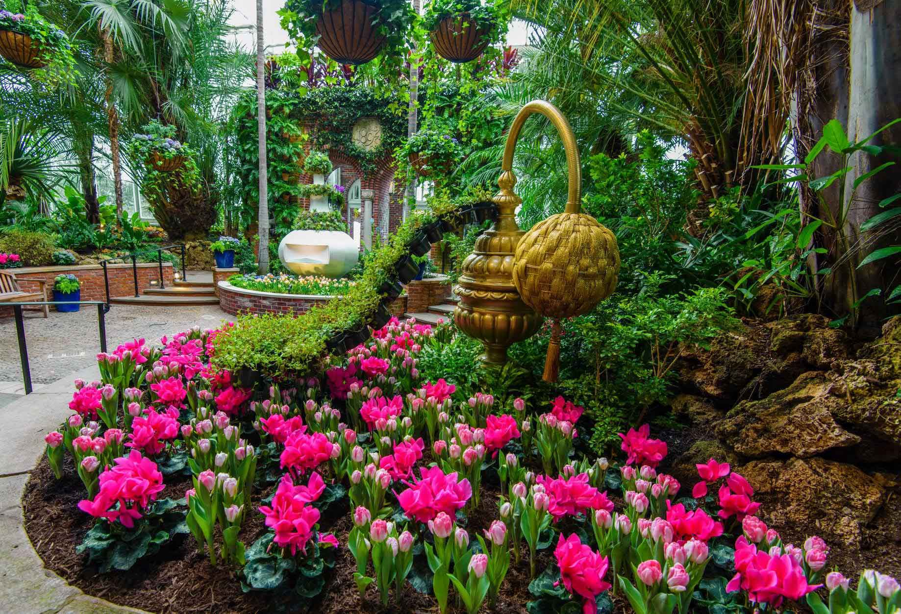Spring flower show scents of wonder phipps conservatory and in the south conservatory a classic herb garden is brought to life with detailed sharply manicured hedges a gushing fountain and fragrant citrus trees mightylinksfo