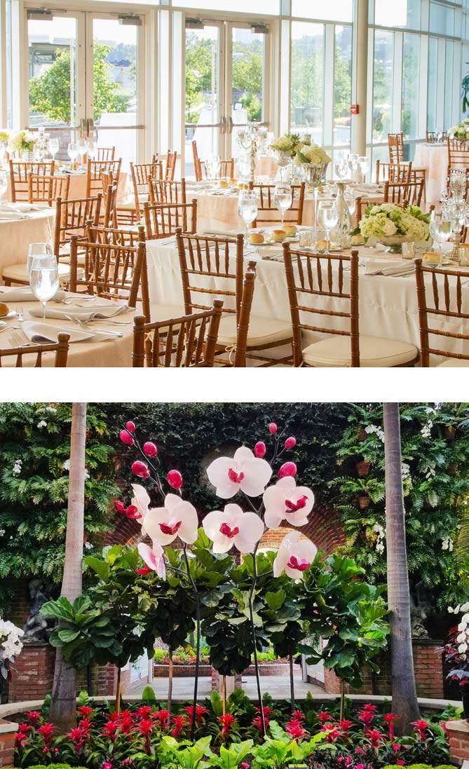 Photos showing the SUPER. NATURAL. glass show and table settings at Phipps are shown.
