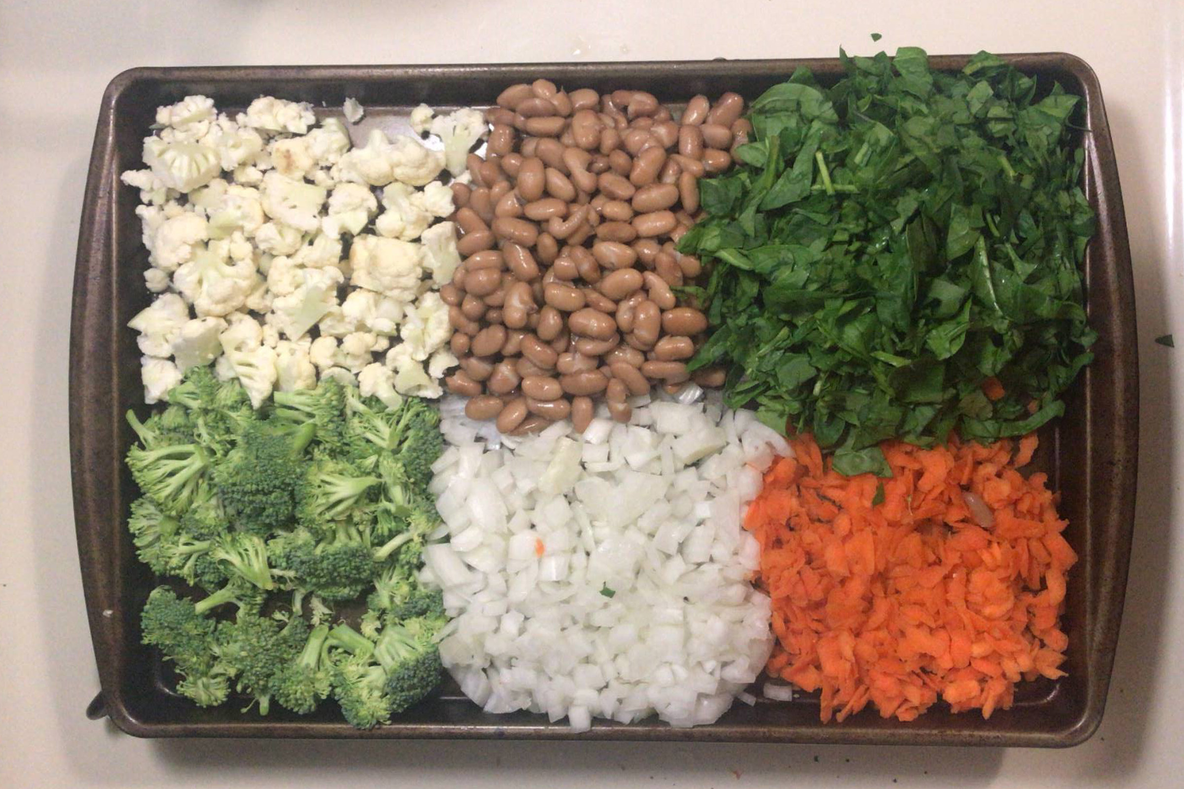 vegetables on cookie tray