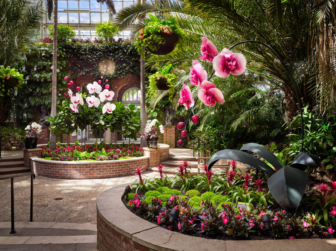 Sculpted glass orchids by artist Jason Gamrath are seen in Phipps' Palm Court. Photo copyright Ed Massery.