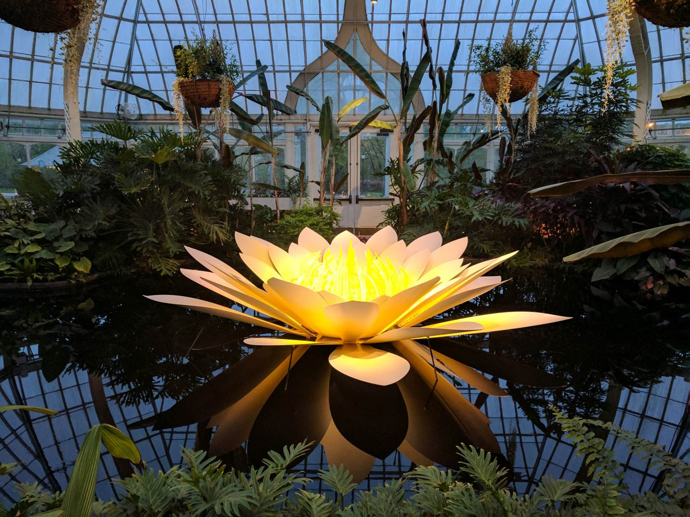 A sculpted glass water lily by artist Jason Gamrath is seen in Phipps' Victoria Room.