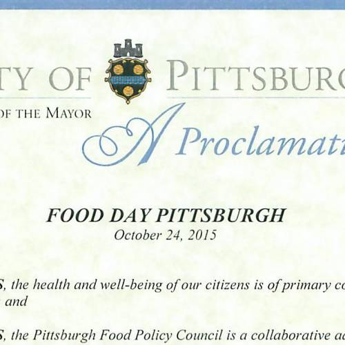 "Policy Update: Annual ""Food Day"" Declared in Pittsburgh and Allegheny County"